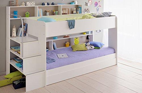 Etagenbett Nische 100 : Kinder etagenbett weiß grau mit bettkasten treppe und