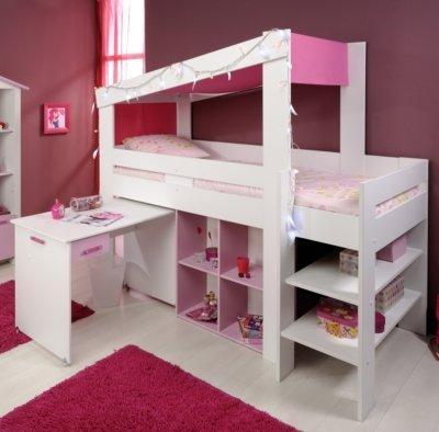 Mädchen Kinderzimmer-Hochbett 90×200 mit Schreibtisch Weiss Pink ...