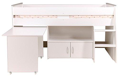 PARISOT Kinderbett Hochbett Reverse Mit Schreibtisch Weiß